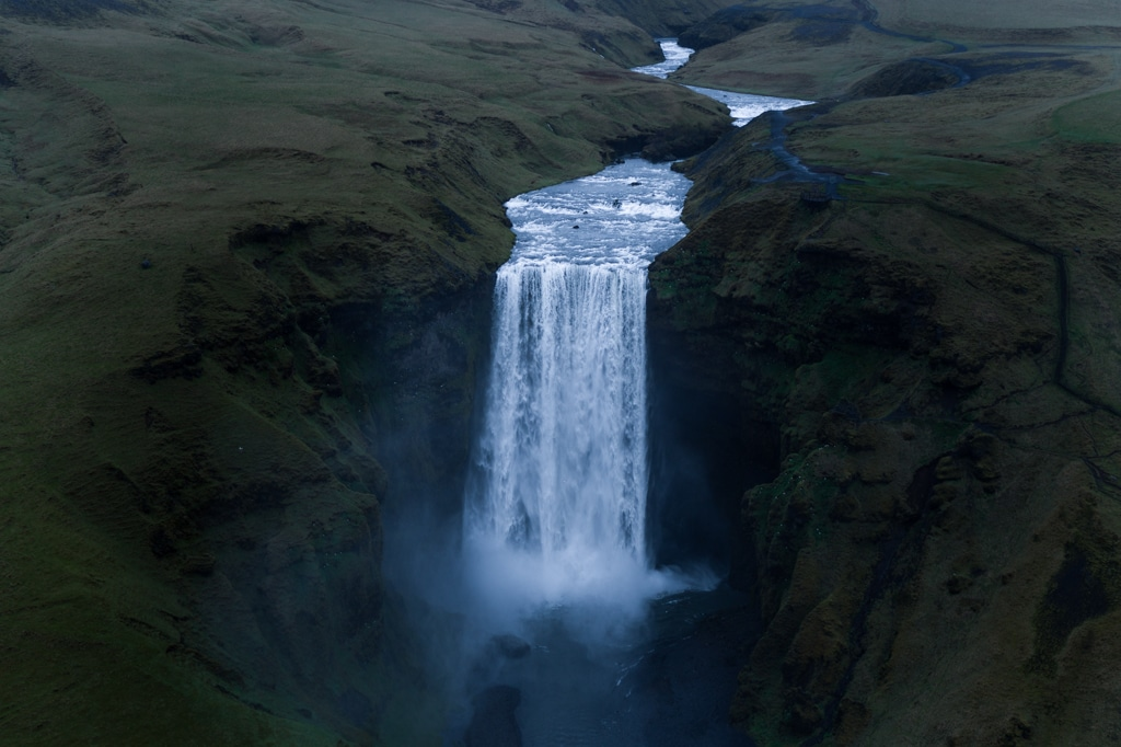 Aerial Drone view of massive waterfall Iceland