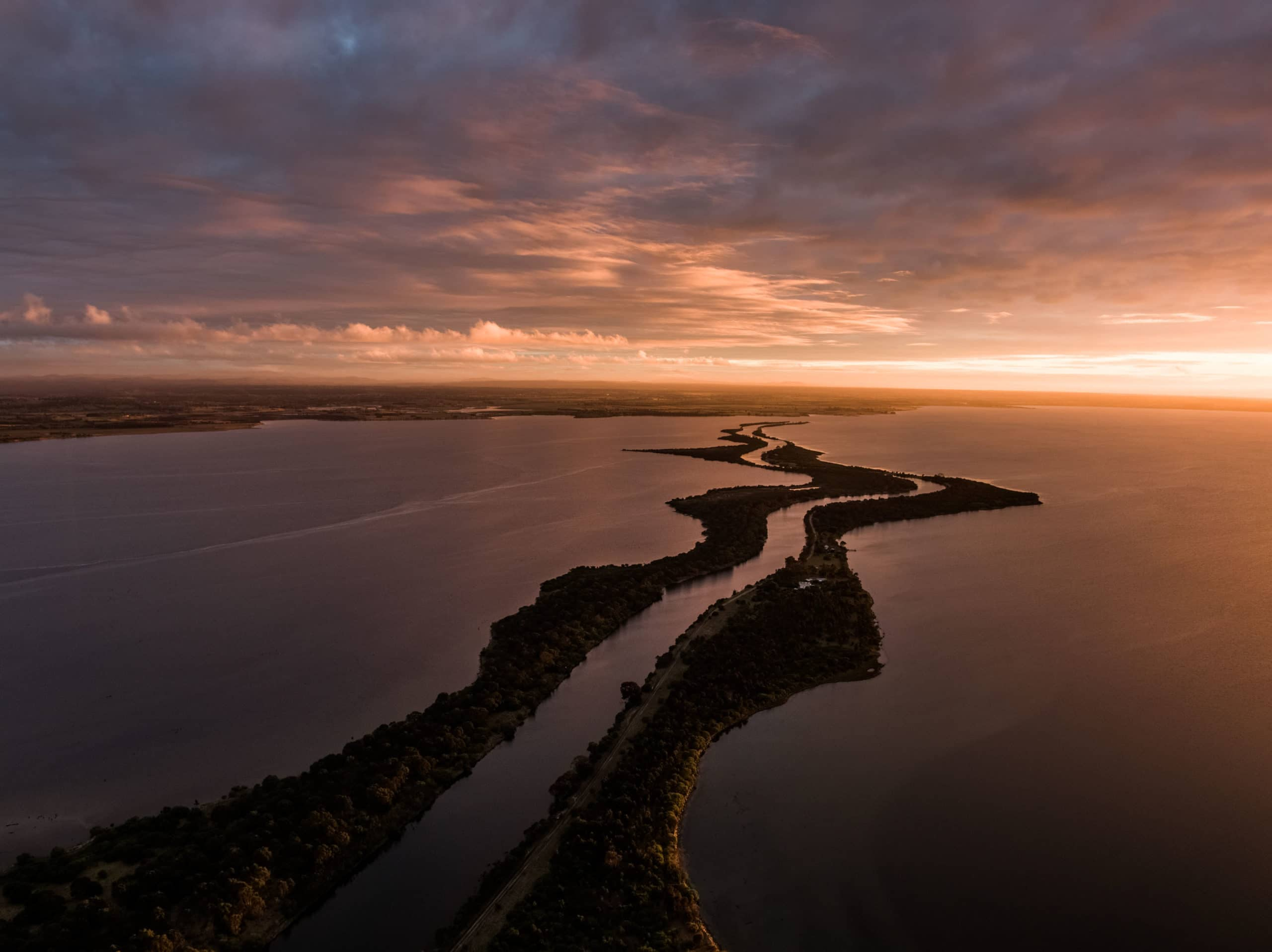 Lakes Entrance Sunset Drone Photography